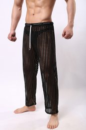 Wholesale Low Rise Sexy Trousers - Sexy Mens Pants Sleepwear See Through Big Mesh Lounge Pajama Bottoms Loose Trousers Low Rise Male Sexy Wear