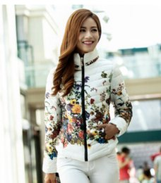 Wholesale Pink Coat Stand - 2014 New Arrival winter Women fashion duck down jacket Floral printing long sleeve Slim zipper stand collar coldproof down coat