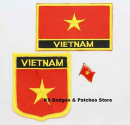 Wholesale Wholesale Vietnam - Free Shipping 3pcs set Vietnam Flag Embroidery Iron on Patch+Flag Badge
