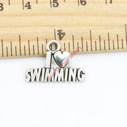 Schwimmen schmuck online-Antikes Silber Überzogene Ich Liebe Schwimmen Charms Anhänger für Halskette Armband Schmuck Machen DIY Handgemachte Fertigkeit 15x22mm Schmuck machen DIY