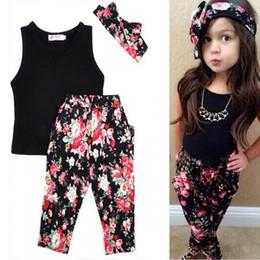 Wholesale Childrens Floral Pants - Hug Me Girls Baby Childrens Outfits & Sets Kids Clothes 2016 New Summer Lace Vest + Floral Haren Pants + Headband 3Sets MC-955