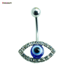 Wholesale Blue Navel - 14G Moon Blue Eye Navel Piercing Ombligo Crystal Belly Button Piercing Nombril Punk Belly Button Rings Dangle Pircing Jewelry
