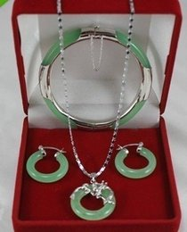 Wholesale Green Jade Bangle Gold Bracelet - Wholesale cheap New Listed Silver Jade Bangle Bracelet Pendant Earring Jade Jewelry Set+Box