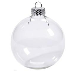 decorazione spray a neve Sconti Ornamenti di palline di Natale Palline di vetro di Natale Decorazione di Natale 80mm Palline di Natale Palline di vetro trasparente Palline di Natale Albero di vetro