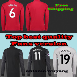 Wholesale Sports Jersey Patches - Free ship TOP Best 17 18 jersey Long Sleeve LS home away FULL 2016 POGBA ROONEY RASHFORD IBRAHIMOVIC MARTIAL SHIRTS sports jersey Free patch