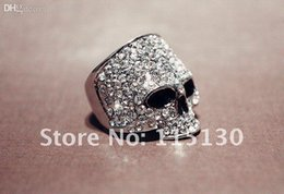 Wholesale Vintage Jewelry Wholesale Europe - Wholesale-Vintage Europe a silver colored Simulated Diamond skull rings for men Rock Punk Gold Ring Fashion Jewelry Free shipping
