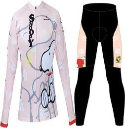 Wholesale Cycling Jersey Long Sleeve Summer - Wholesale-Hot Sale! 2015 New Summer Women Cycling Bike Bicycle Long Sleeve Jersey Jerseys Wear&Padded Pants- Snoopy XS~XXXL