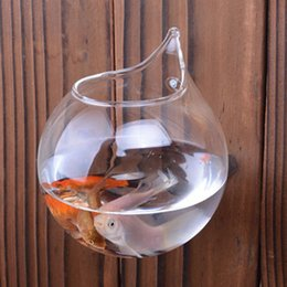 Wholesale Cheap Wall Crystal - Modern Glass vases home decoration cheap crystal vases Aquarium fish tank wall vases with nail or rope Diameter10cm,12cm