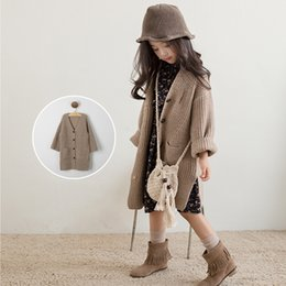 Wholesale Sweater Korean Girl - Everweekend Girls Button Pocket Cardigan Cute Baby Brown Color Sweater Lovely Kids Korean Fashion Autumn Outerwear