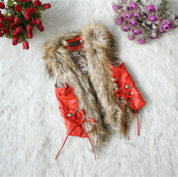 Wholesale Girls Fur Vests - children new baby girl High-grade Leather and fur Vest kids 2 colour winter Thickened vest coat