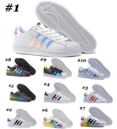 Wholesale Iridescent Colors - 69 Colors 2017 Cheap Wholesale Superstar White Hologram Iridescent Junior Superstars Sneakers Super Star Women Men Sport Running Shoes 36-45
