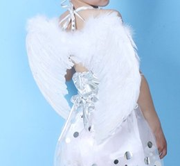 Wholesale Decoration Birthday Baby - 5 colors kid girls Feather Wings Angel Baby Fairy Costume Props Birthday Gift Halloween Party BA442