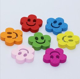 Wholesale Flower Handicraft - 100pcs 20mm Assorted Colors S Flower Wood Buttons With Hole For Handicrafts Sewing Scrapbooking Accessory
