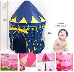 Wholesale Person Toy - Wholesale-24pcs High Quality Lovely Prine and Princess Palace Casctle Children Play Tent Toy Indoor & Outdoor,blue and pink colors mixed
