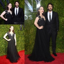 Wholesale Cheap Award Dresses - Designer Red Carpet Celebrity Gowns Kat Dennings Black Lace Tulle Cheap Sexy Evening Dresses 2015 Tony Awards Prom Dress Party Formal V Neck
