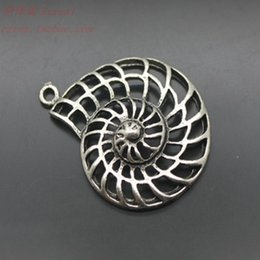 Wholesale Snail Pendant - Diy accessories alloy accessories vintage antique silver nautilus cutout snail shell pendant bracelet necklace
