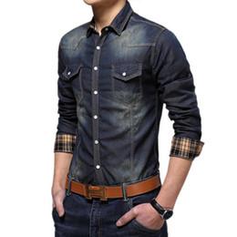 Wholesale Bingo Shirts - Wholesale-Bingo Men Vintage Denim Shirts Males Casual Shirt Jeans Shirt camisas hombre camisa jeans masculina chemise blouse BG-F7124