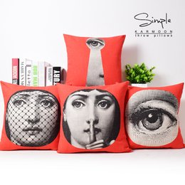 Wholesale Vintage Styling Chairs - European Vintage Style Fornasetti Face Mask Art Cushions Pillows Covers Decorative Sofa Seat Chair Pillow Case Linen Cotton Cushion Cover