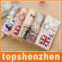 Wholesale Eiffel Tower Wallets - Christmax Europe Retro Style Eiffel Tower Printing Women's Wallet Big Ben Covered Button Card Slot Package Handbag Purse DHL Freeshipping