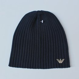 Wholesale Fine Knitting - Men Women 100% super fine Merino wool Beanie hat Reversible Training running winter thermals fleece cap knit Sports Warm cosy