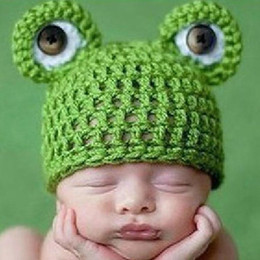 Wholesale Newborn Baby Frog Caps - Baby Infant Newborn Handmade Crochet Knit Cap Frog Hat Costume Photograph Prop Drop Shipping BB-142