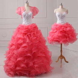 Wholesale Christmas Quinceanera Dresses - Festival 2016 Christmas Quinceanera Dresses Floral Sweetheart Ball Gown Royal Organza Pleated Sweet Red Prom Dress Evening Gowns With Jacket
