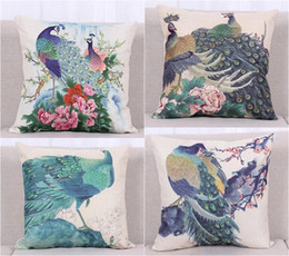 Wholesale peacock print pillow cases - New Chinese Style Colorful Peacock Home Pillow Case Cushion Cover 18''New Chinese Style Colorful Peacock Home Pillow Case Cushion Cover 18''