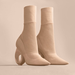 Wholesale Trendy Leather Boots - Hollywood Sexy Pointy Ankle Boots Knitted Sock Style Slim Boots with Hole Strange Heel Trendy Design Plus Size Fashion Shoes WOmen