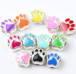 Wholesale European Beads Bear - Enamel Bear Paw Print Big Hole Beads 60pcs lot 12Colors Silver Plated Bead Fit European Bracelets