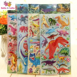 Wholesale Sticker Foam Sheets - Free shipping 4 sheets cool dinosaurs animal anime 3D foam stickers party supplies decoration kids gift children game toys boys