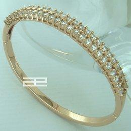 Wholesale 18k Rose Gold Gf - 9K 19CT Rose Gold Filled GF with Crystal Elegant Can Open Bangle G78