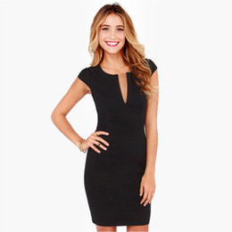 Wholesale Ladies Wholesale Office Dresses - Wholesale-Elegant Ladies Office Dress Work Wear Sleeveless V Neck Women Summer Dress 2016 Casual Vestidos Plus Size Pencil Dress Black