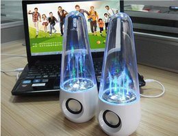 Wholesale Dancing Water Mini Music Speakers - New usb tumbler dancing water speaker Portable Mini USB LED colorful lighting music speakers Black White color