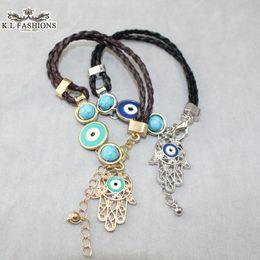 Wholesale Ethnic Braided Bracelet - Braided Black&Brown Fatima Hamsa Hand Evil Eye Charm Bracelets Ethnic Jewelry Women Gold Silver 2015 New