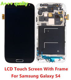 Wholesale Galaxy S4 Digitizer Assembly - For Samsung Galaxy S4 i9500 i337 i545 L720 M919 R970i 9505 LCD Screen with Touch Screen Digitizer + Bezel Frame Assembly Free Shipping