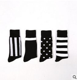 Wholesale 1lot pairs business mens dress socks simple design black striped dots sock for men long mens socks newest