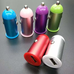 Wholesale 5v 1a Usb Adaptor - Bullet car adaptor aluminum alloy USB Car Charger Colorful Metal Mini Micro Auto USB Power 5V 1A for Samsung HTC Blackberry iphone universal