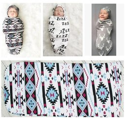 Wholesale Newborn Hats White - Newborn Baby Swaddle Boys Girls Sleeping Bag Infant White Wrap Hat 2Pcs Bed Accessories Sets Infant Sleeping Bag DHL Free Shipping