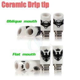 Wholesale Ego Cig Skulls - Best Ceramic Drip Tip Eagle Skull Style 2 types 510 thread nozzle Tips Wide Bore e cig cigarette vapor Mods RDA ego Atomizer RBA Mouthpiece