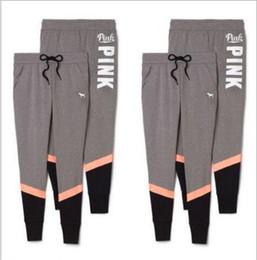 Wholesale Trousers America - Pink Pants Women Love Pink Sport Pants Fashion Yoga Pants Autumn Capris Pink Letter Trousers European America Leggings Women's Tights B3557