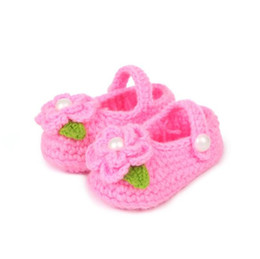 Wholesale Knitted Baby Shoe Flower - Baby First Walker Shoes 2015 Winter Hot Sale Baby Kids Casual Shoes With Flower Newborn Hand Knitting Shoes 20pcs lot Fit 0-2 Age