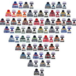 Wholesale Cheap Team Beanies - 2017 Cotton All Team Football Pom Pom Beanies Men Women Winter Hats With Pom Cheap Sports Skull Caps Hot Sale