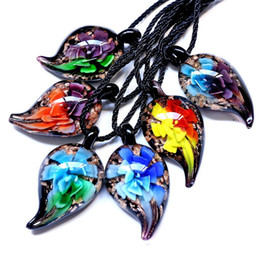 Wholesale 3d murano glass pendant - Wholesale- 2015 Gold Dust Fashion 6 Color 3D water drop Flower Jewelry Murano Glass Pendant Lampwork Glass Pendant Necklace Free Shipping
