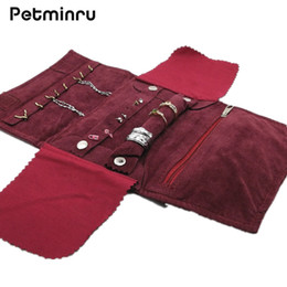 Wholesale Jewelry Holders For Necklaces - Petminru Portable Jewelry Holder Storage Bracelet Earring Ring Necklace Pouch Organizer Travel make up Bag For Jewelry
