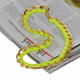 Wholesale Woven Necklace For Sale - Wholesale-Charm Simple Gold Plated Circle Necklace For Women Men Fashion Jewelry Multicolored Leather Weave Necklaces Hot Sale