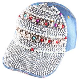 Wholesale Crystal Skulls For Sale - Wholesale-Hot Sale Wholesale Skull Colorful Pearl and Crystal Assessaries Denim Sun Baseball Hat Snapback Cap for Women