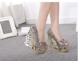 Wholesale Glitter Silver Wedge Heels - Glitter Strange Heel Bridal Wedding Shoes Prom Gown Dress Shoes