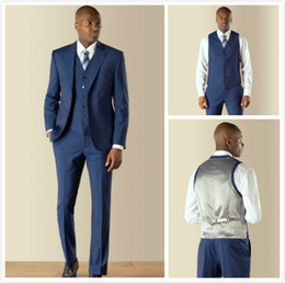 Wholesale Dark Gray Suit Mens - High Quality Dark Blue Tuxedos For Men Two Buttons Slim Fit Mens Suits Wedding Suits for Groom   Groomsmen Prom Suit (Jacket+Pants+Vest+Tie)