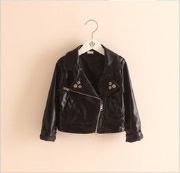 Wholesale Hot Girl Leather Clothing - Boys Girls PU Leather Coats Jackets 2015 New Hot Sale Children Black Zipper Turn-down Collar Outwear Kids Clothing Child Fall Winter Clothes
