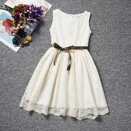 Wholesale Formal Vest Styles - 3-10Y 2017 Girls Summer Sleeveless lace Vest Princess Dresses with Bow Children full Formal Evening Party Dress Kids Clothes